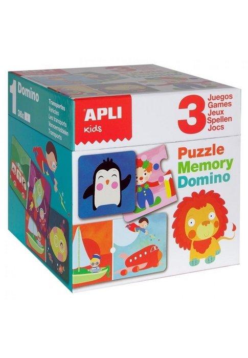 Set apli puzle memory y domino games 3 unid