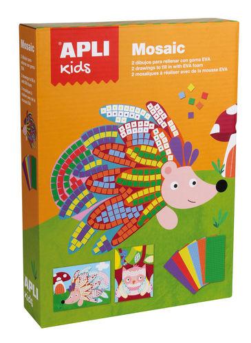 Mosaico apli goma eva animales 2 unid
