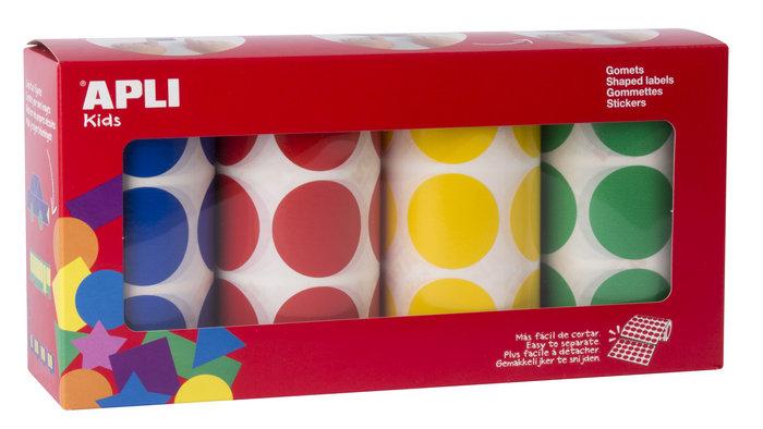Rollos de gomets redondos 33mm colores surtidos 4 unidades
