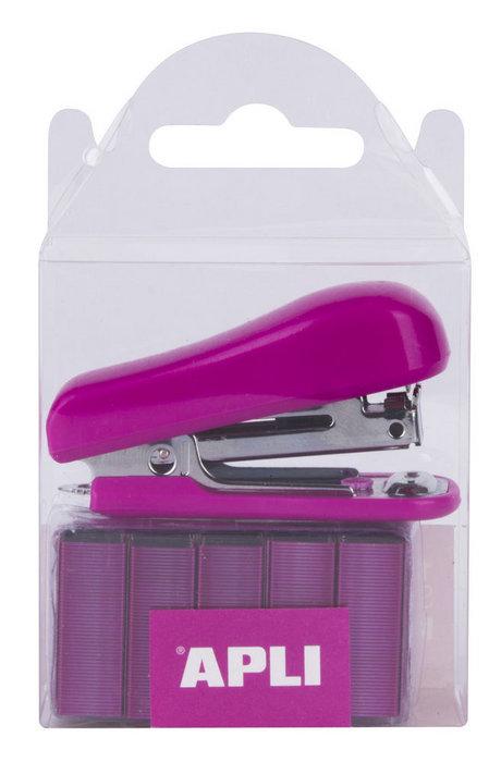 Grapadora pocket rosa con grapas n10 2000 uds