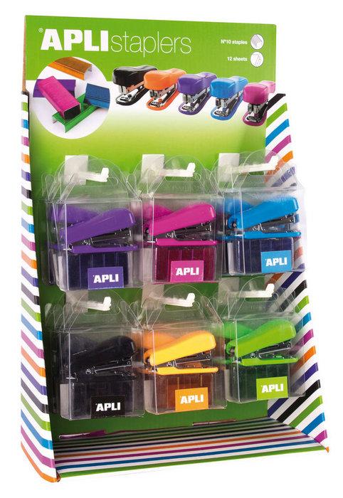 Expositor 18 grapadoras pocket 6 colores