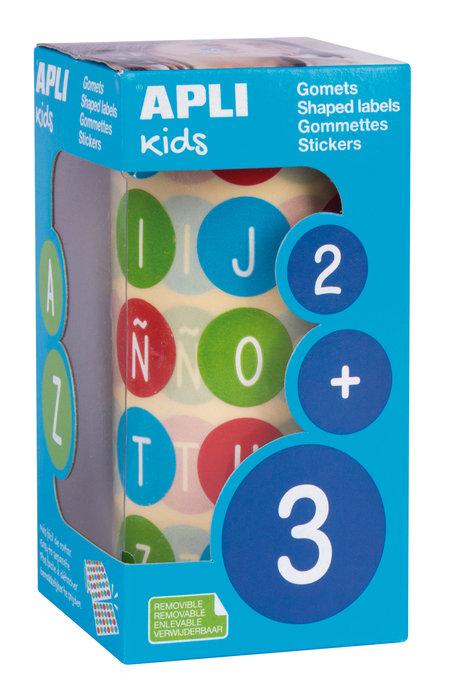 Gomets abecedario redondos 20 multicolores