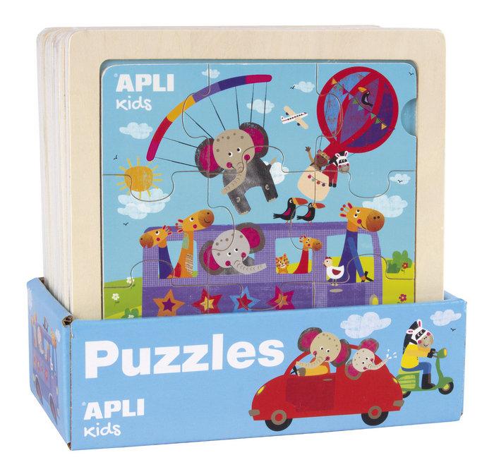 Expositor 9 puzzles madera transportes surtidos