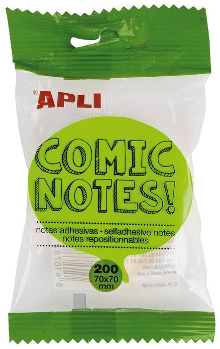 Bloc notas comic brillante 70 x 70 mm