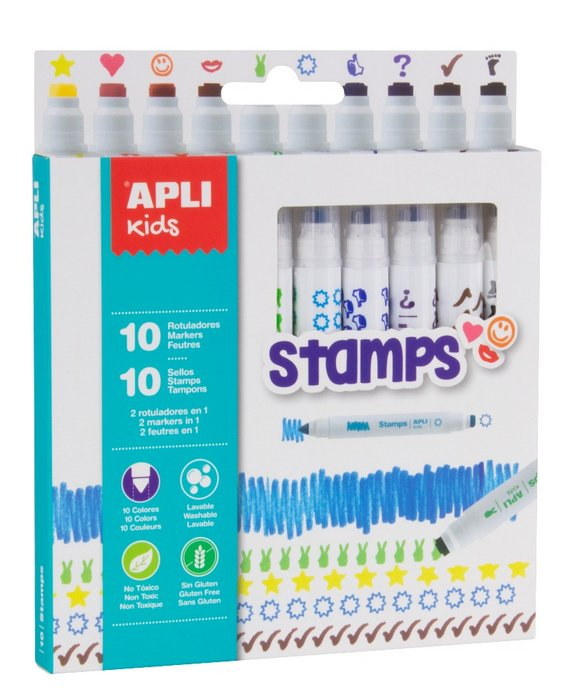 Rotuladores colors & stamp caja 10 uds