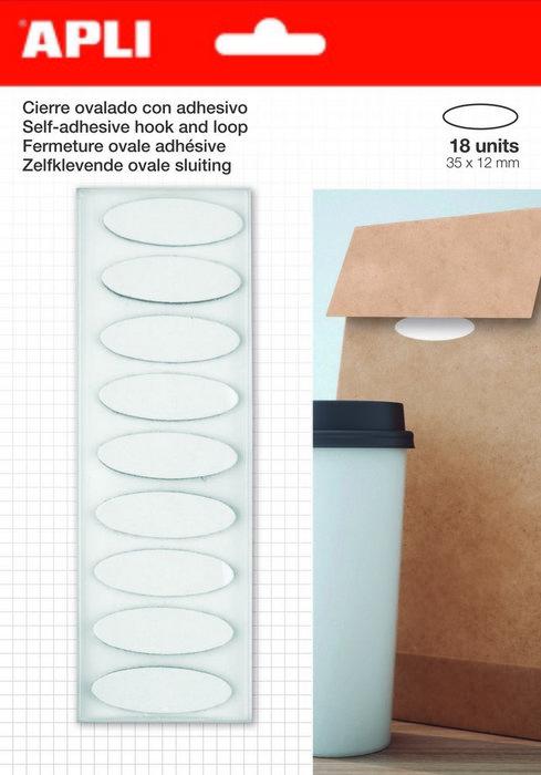 Cierre ovalado adhesivo velcro 35x12 blister 18 uds
