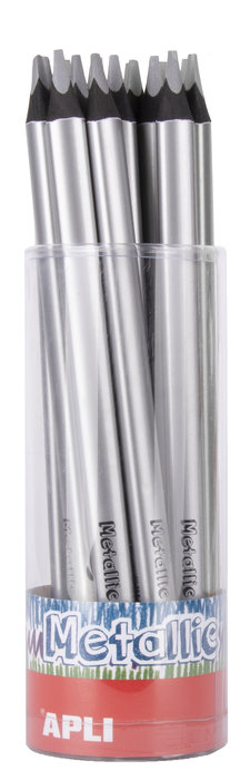 Lapiz jumbo metalico triangular plata 18 unidades