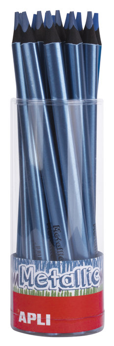 Lapiz jumbo metalico triangular azul 18 unidades