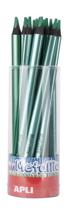 Lapiz jumbo metalico triangular verde 18 unidades