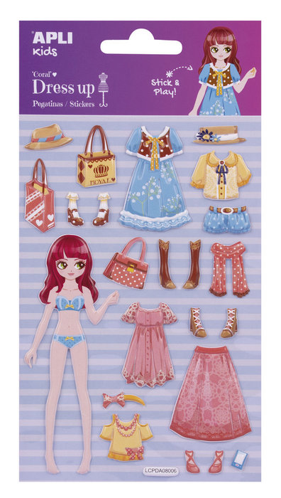 Bolsa pegatinas removibles dress up con escenario coral 1h