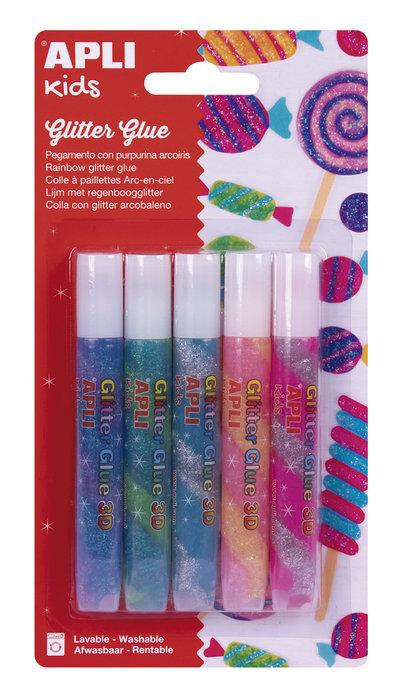 Pegamento glitter glue arcoiris 3d pack 5 botes