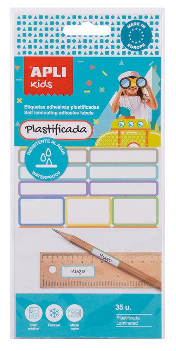 Etiquetas adhesivas plastificadas blister 35 uds