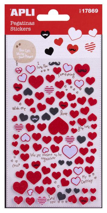 Bolsa de pegatinas corazones textil