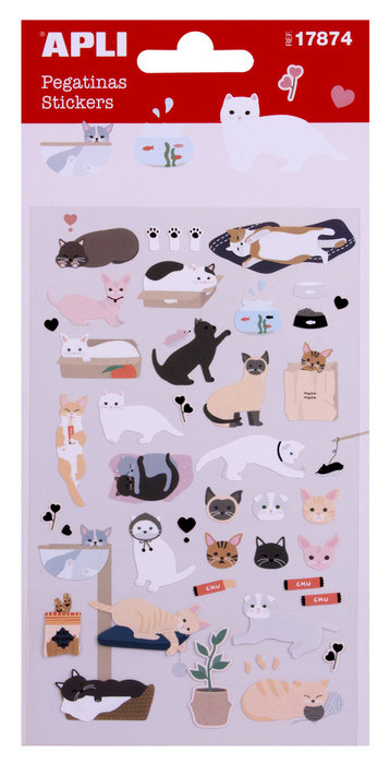 Bolsa de pegatinas gatos