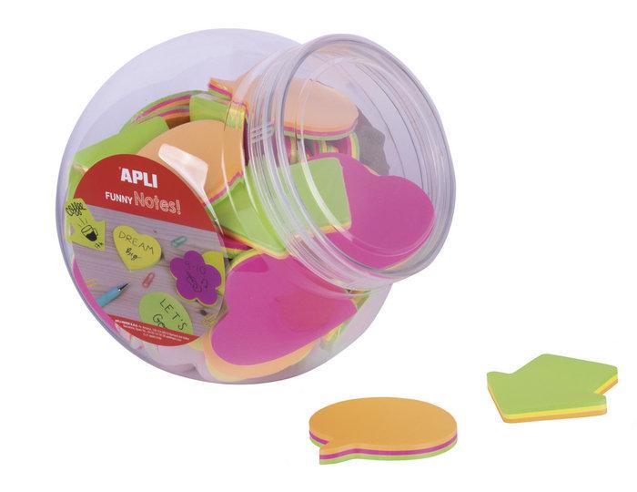 Notas adhesivas formas y colores surt. bombonera 45 uds