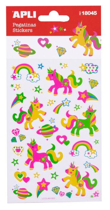 Pegatinas unicornio neon 1 hoja