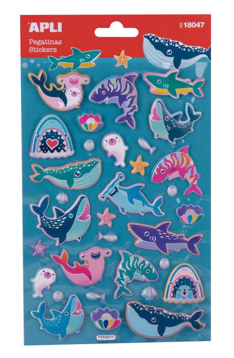 Pegatinas animales marinos 1 hoja