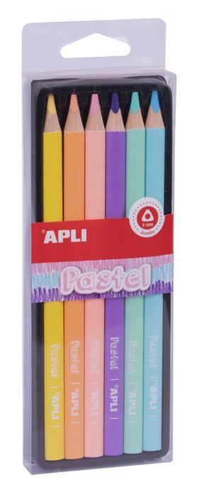 Lapiz jumbo pastel triangular pack 6 unidades surtidas