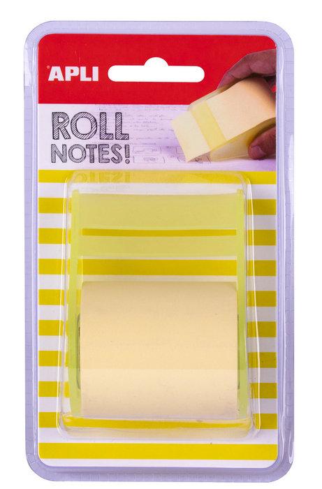Notas adhesivas color amarillo pastel en rollo de 5m