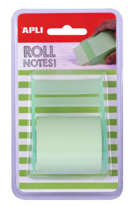 Notas adhesivas color verde pastel en rollo de 5m