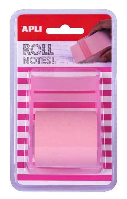Notas adhesivas color rosa pastel en rollo de 5m