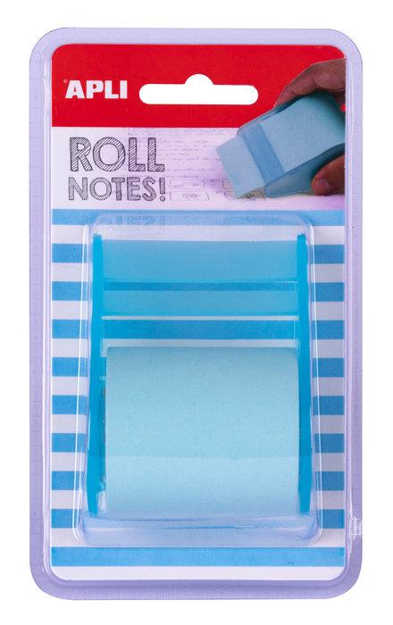 Notas adhesivas color azul pastel en rollo de 5m