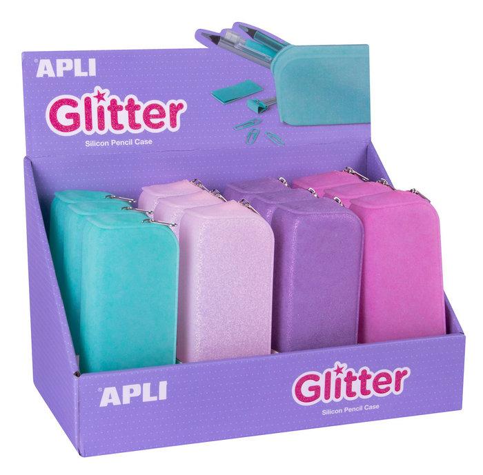 Estuche silicona glitter 12 undades
