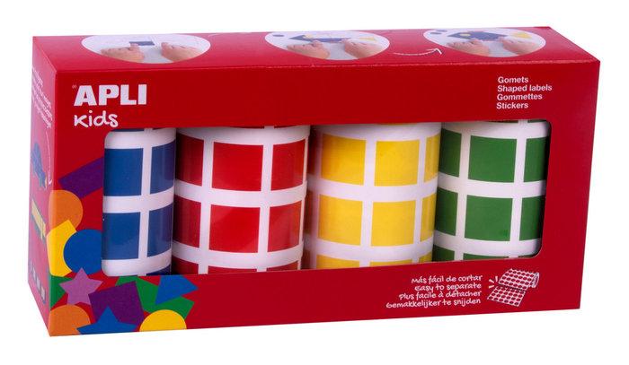Pack rollos gomets cuadrados 20 mm azul,rojo,amarillo,verde