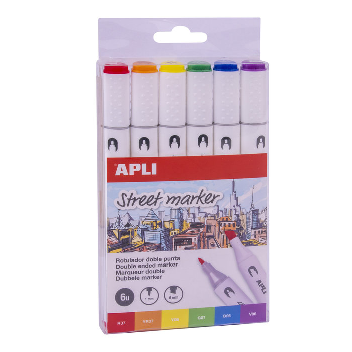 Rotulador doble punta street marker colores surtidos 6 unid