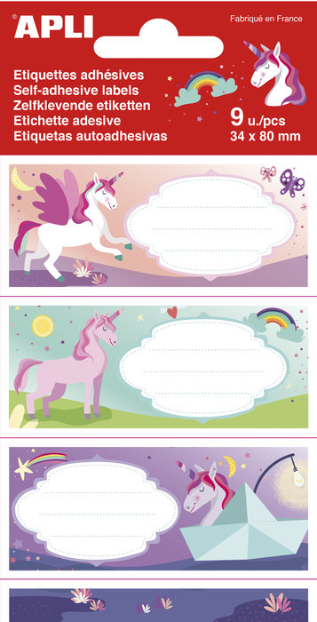 Etiqueta nombres unicornios 9 unidades