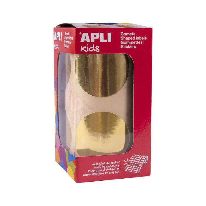 Rollo gomets redondos Ø45 mm metalizados oro