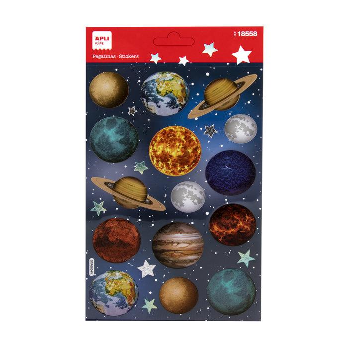 Pegatinas planetas detalles holograficos 1 hoja