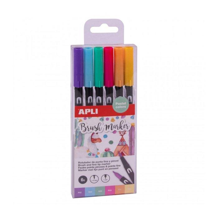 Rotuladores de doble punta fina y pincel colores pastel 6 u.