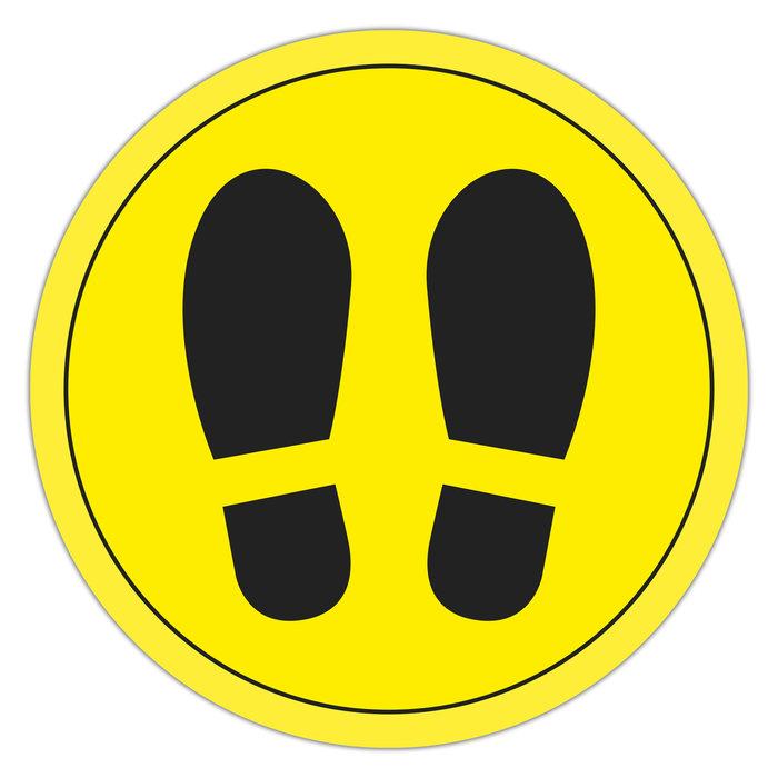 Circulo adhesivo amarillo con pies  30 cm de diametro