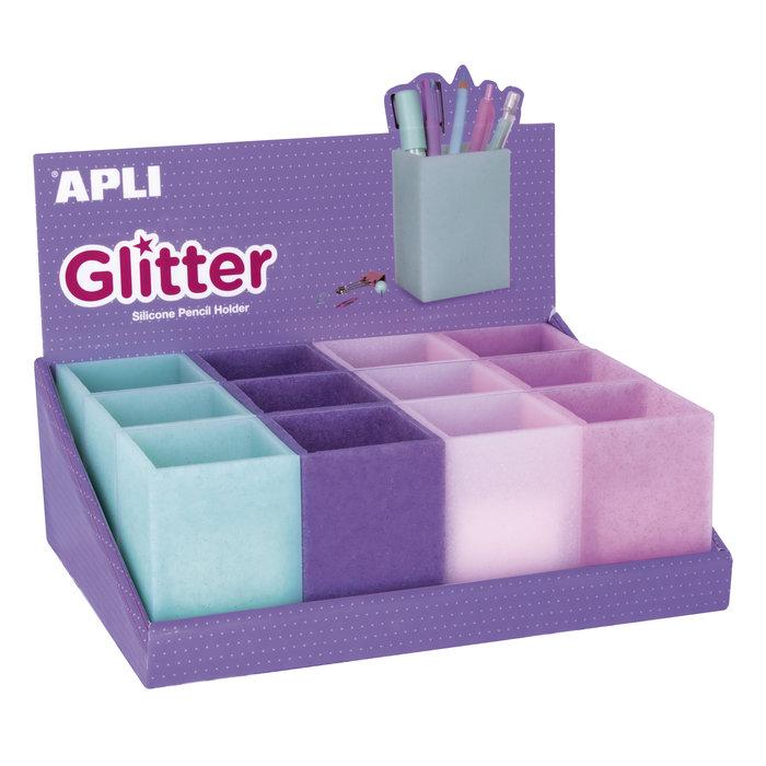 Cubilete silicona portalapices glitter 12 unidades surtidas