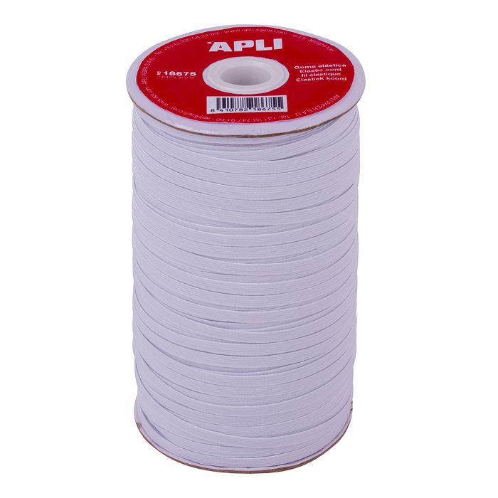 Bobina de cuerda elastica plana blanca 5 mm x 100 m