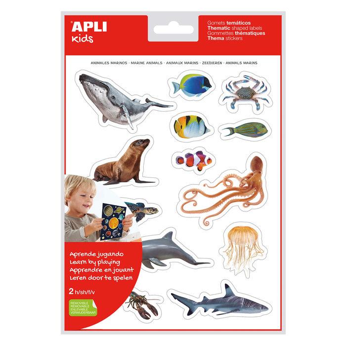 Bolsa gomets tematicos realistas animales marinos 2 hojas