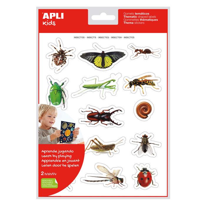 Bolsa gomets tematicos realistas insectos 2 hojas