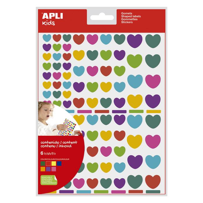 Bolsa gomets corazones removibles multicolor 6 hojas