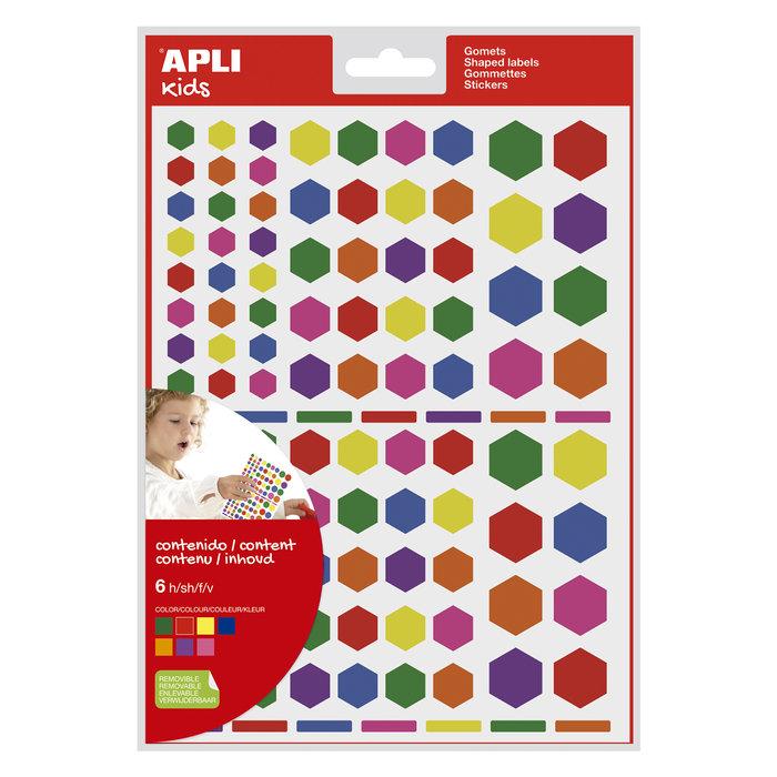 Bolsa gomets hexagonales removibles multicolor 6 hojas