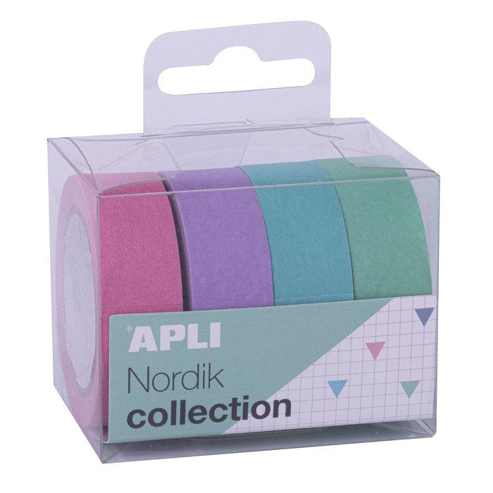 Pack cintas adhesivas de papel washi tonos nordik 4 unidades