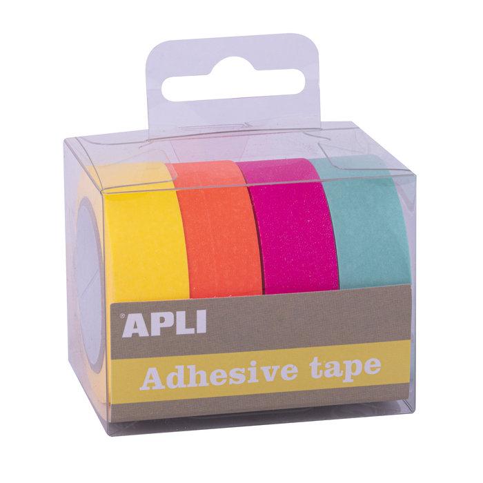 Pack cintas adhesivas de papel washi tonos fluor 4 unidades