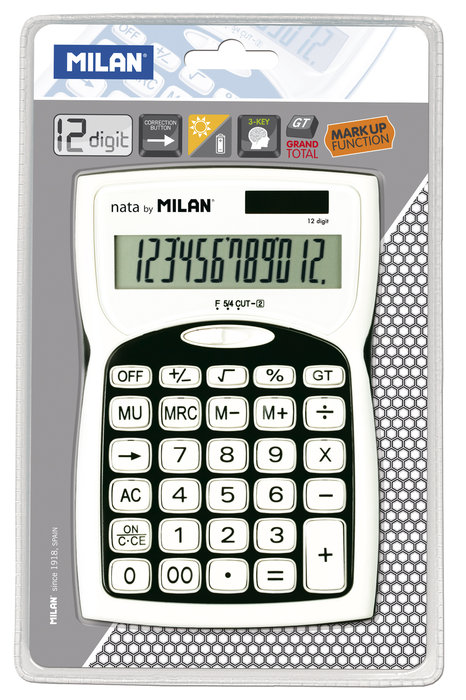 Blister calculadora negra 12 digitos
