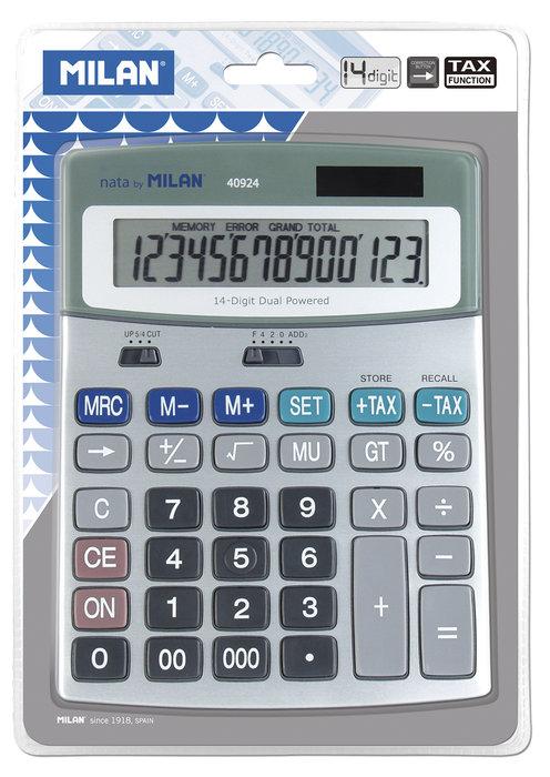 Blister calculadora metalica 14 digitos