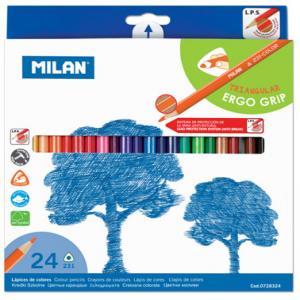 Lapiz colores milan c/24 triangular ergo grip
