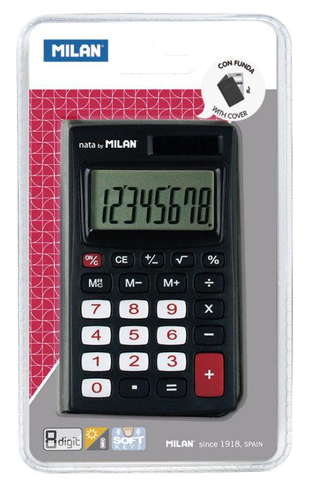 Blister calculadora negra 8 digitos con funda