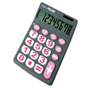 Calculadora milan blister 8 digitos teclas grandes gris