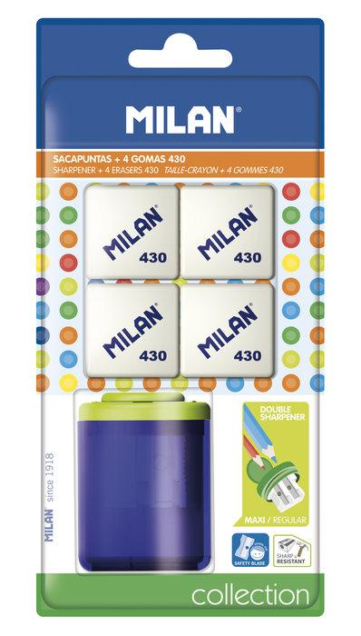 Blister 1 sacapuntas collection + 4 gomas 430
