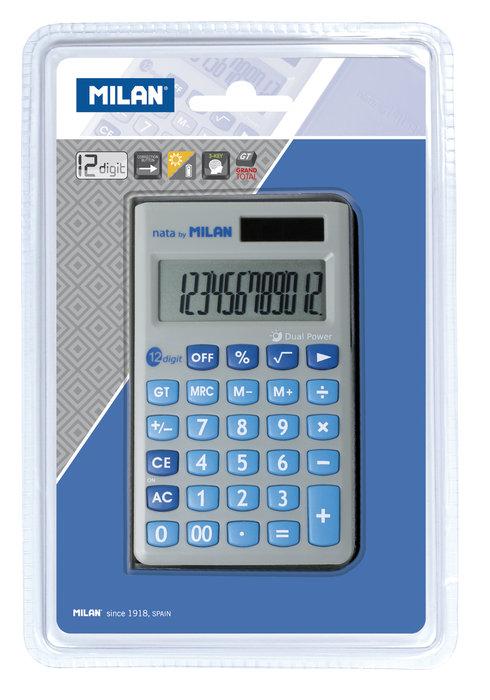 Blister calculadora gris y azul 12 digitos