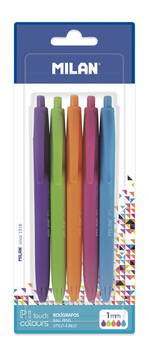 Blister 5 boligrafos p1 touch colours surtidos